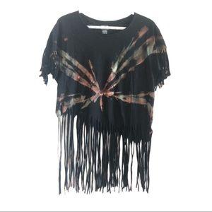 Tie dye and fringe upcycled t shirt